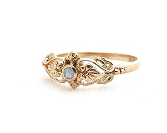 Gold Opal ring, victorian gold ring, Opal ring, Blue opal gold ring, Romantic gold ring