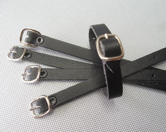 5  Small black leather luggage tag straps  165 x 9.5mm approx.
