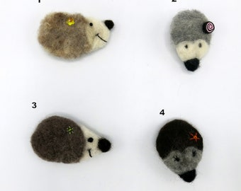 Hedgehog brooch - Needle felted brooch - hedgehog gift - hedgehog felted brooch - fibre pin - needle felted pin - animal  brooch - uk seller