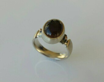 Brown smoky quartz silver classy woman ring size 6 us / 16,5 eu or MADE TO ORDER