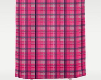Tartan Plaid Shower Curtain, Large Shower Curtain, Pink Shower Curtain, Plaid Bath Curtain, Plaid Bathroom Decor, Shower Curtain 71x74