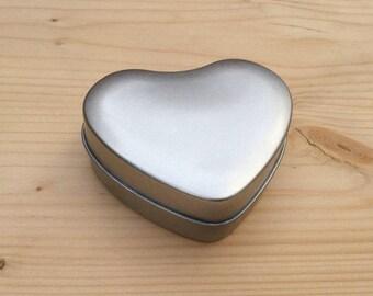 Heart shape Tin Box, Jewelry Box, Candle Tin, Lip Balm Tin, 50ml Small Box