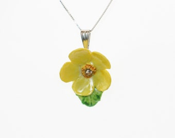Porcelain Buttercup pendant with sterling silver necklace/ Flower Necklace/ Flower Pendant/ Flower jewellery/ Yellow Buttercup necklace