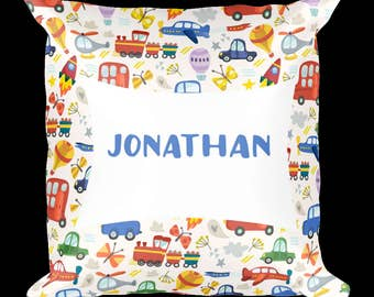 Custom pillow, Boy's room, Baby room decor, Nursery decoration, Personalized pillow, cars, trucks, planes