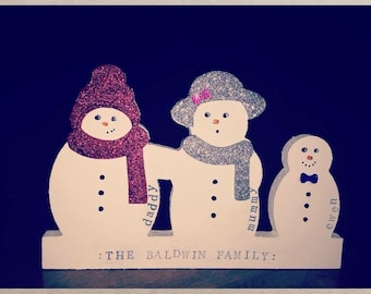 9 person Classic personalised snowman family
