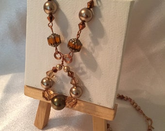 Shades of Fall Beaded Copper Link Necklace