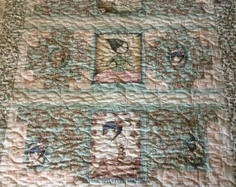 Artsy Girls Quilt, Butterflies,  Mint Green, Cuddly Backing