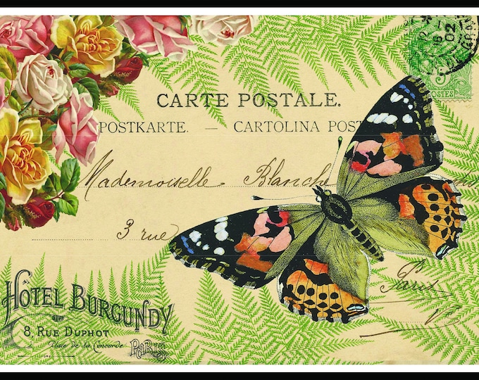 Instant Download, Butterfly, Nature Inspired, Ferns, Botanical, PostCards, France, home decor, craft, garden, new house gift, butterflies