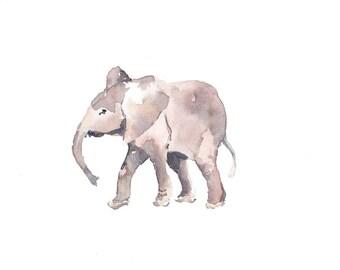 Baby Elephant Print , Watercolour Print, Nursery Art, Elephant, Pink Elephant