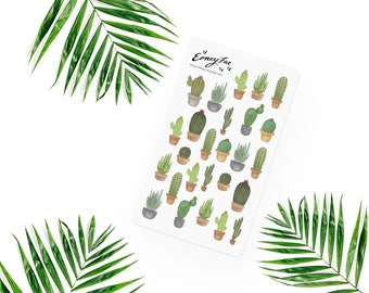 Cacti Stickerset-Watercolor sticker-pretty planning-scrapbooking-bullet journaling