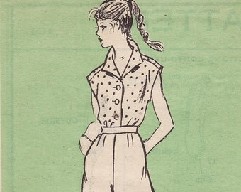 Cute Mail Order Pattern for Blouse and Culottes, Sizes 14 Bust 33 Uncut Vintage Sewing Pattern 60s Summer Clothes