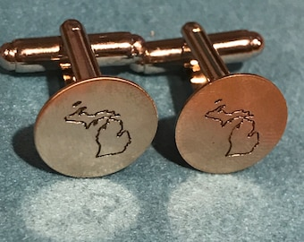 Michigan personalized handstamped and hammered cuff links