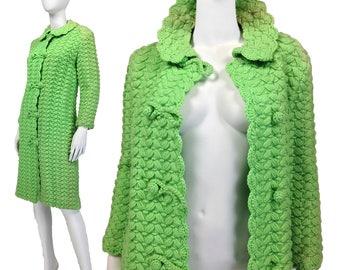 60s Mod Coat S, Crochet Coat, Wool Coat, Knit Coat, Peter Pan Collar, Made In Italy, Winter Coat, Spring Coat, Hipster, 1960s Coat, SIZE S