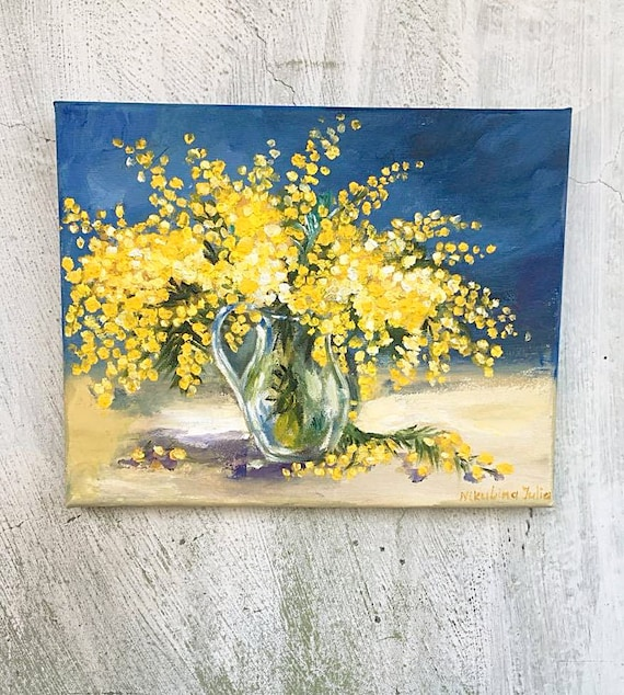 Mimosa original oil painting Yellow Flower Small painting on