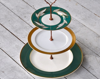 Magnolia: Cake Stand, Wedding Cupcakes, Teal and Gold Encrusted Wedding Table Decoration