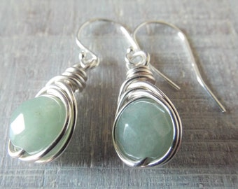 Green Aventurine Earrings, Green Stone Earrings, Aventurine Jewelry, Birthday Gift for Her, Silver Dangle Earrings, Light Green Earrings