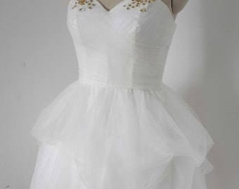 2015 Ball Gown Spaghetti Straps Ivory Tulle Short Prom Dress, Homecoming Dress, Graduation Dress