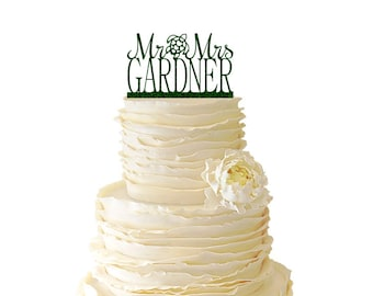 Glitter Mr. And Mrs. With Sea Turtle And Personalized With Your Name Acrylic Wedding/Special Event Cake Topper - 024