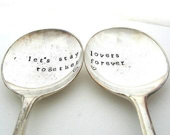Together Forever, Pair of Handstamped Vintage Dessertspoons, Valentines Gift, Hand Stamped Lovers' Spoons