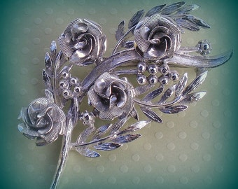 Vintage Coro Rose Brooch Pin Leaves Ready to Wear with Everything
