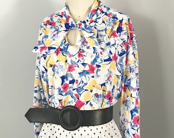 Vintage Polyester Colorful Floral Blouse with Attached Ascot Bow Size Medium to Large - OSV0177