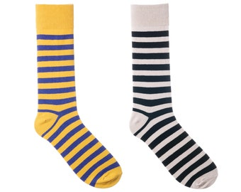 2 Pair Striped Socks For Men - Yellow Purple Black White - Premium Cotton