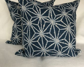 Indigo Hand Printed Linen Pillow