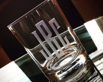 Hand Engraved Monogrammed Personalized Rocks Glass: Traditional Monogram Style