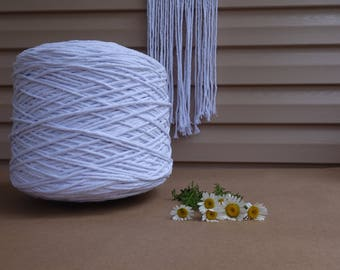 Bright White macrame cotton cord, Macrame cotton cord, 3-4mm white macrame cotton rope, 2,3 kg Over 800 metres (2600 feet), white cord
