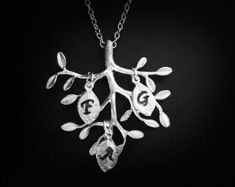 LISTE de réserve: 3 feuilles avec les initiales pour collier arbre généalogique