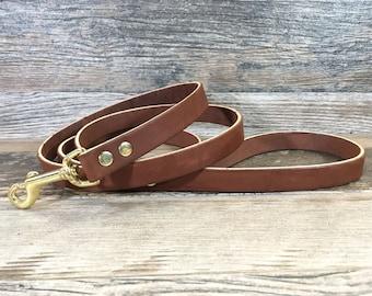 Handmade Brown Leather Dog Leash