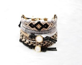 Bohemian Bracelet Stack, Tribal Bracelet Set, Tassel Bracelet, Woven Bracelet, Ethnic Bracelets, Beige Jewelry for Women, Everyday Bracelets