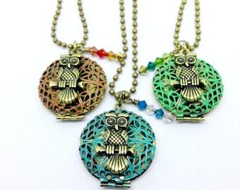Brass Owl Perfume Diffuser, Brass Owl Locket, Owl Jewelry, Owl Diffuser, Bird Necklace, Owl Pendant, Filigree Jewelry, Animal Necklace