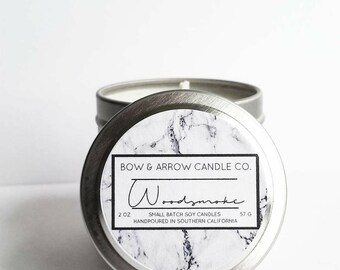 2 oz Natural Soy Candle Woodsmoke Scented | 2 oz Tin Candle | Campfire Candle | Smoke Scented Candle | Soy Candle | Masculine Candle