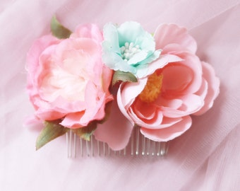 Flower Hair Comb Bridal Headpiece - Rustic Wedding Headpiece Bridal Hair Comb - Wedding Hair Accessory - Pink Mint Flowers Floral Comb