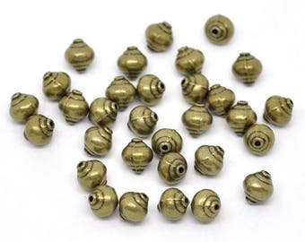 10 pearls 8mm spacer beads 8mm bronze
