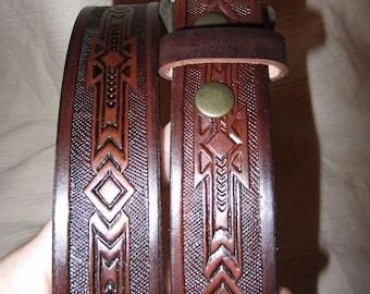1 1/4 Inch Leather Belt, Western Design, Handmade Belt