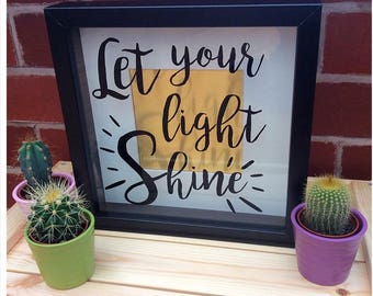 Let Your Light Shine Quote Shadow Box Frame