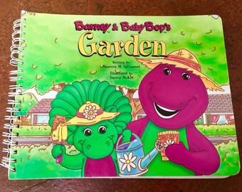 Barney & Baby Bop's GARDEN Book Purple Dinosaur 1990's Board Book