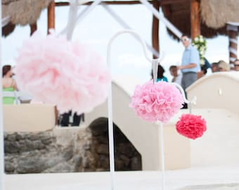 12 Tissue Paper Pom Pom Pew Decorations - Chair Decoration Kissing Ball -Flower Girl Bouquet - Wedding Centerpieces- SALE