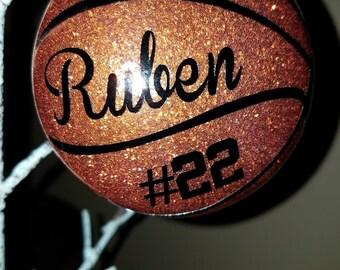 Basketball ornament- Glittered & Personalized
