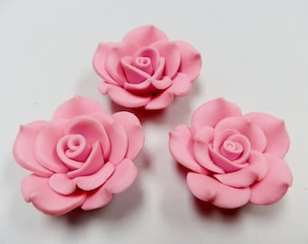 3 Fimo Polymer Clay Pink Flower Rose Fimo Beads 45mm