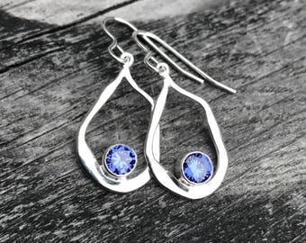 Tanzanite Earrings, Sterling silver dangle earrings, December birthstone earrings, contemporary silver drop earrings, Silver Tanzanite Drops