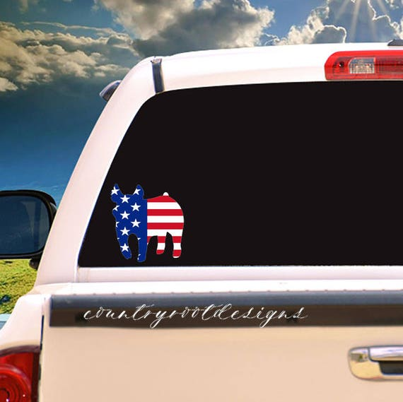 Show pig american flag decal car decal tumbler decal