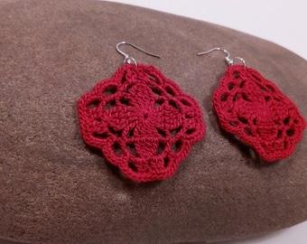 crochet earrings red square