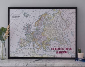 Europe travel map, vintage Europe map, map pin board, magnetic map noticeboard, Europe map, map noticeboard, travel map, personalised map