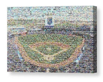 Kansas City Royals Unique Mosaic Art Print of Kauffman Stadium from 262 Royals Player Cards Images.  All the Greats Included.