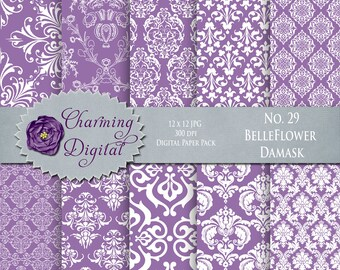 Purple Damask Digital Paper, Purple Scrapbooking Digital Paper, No. 29 Belleflower Damask