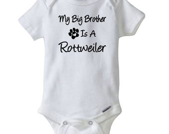 My Big Brother Is A Rottweiler Gerber® Onesie®.  Rottweiler Bodysuit. Baby Shower Gift.  Personalized baby clothes.
