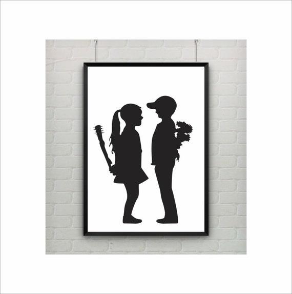 Junge trifft Mädchen von Banksy Druck / abstrakt /